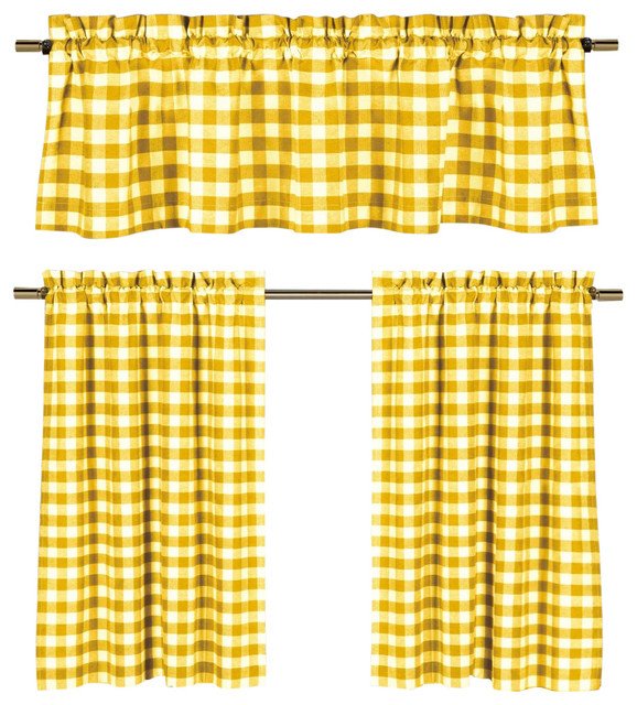 Inspiration about Lemon Yellow White Gingham Kitchen Curtain Set, 3 Piece Regarding Classic Navy Cotton Blend Buffalo Check Kitchen Curtain Sets (#29 of 30)