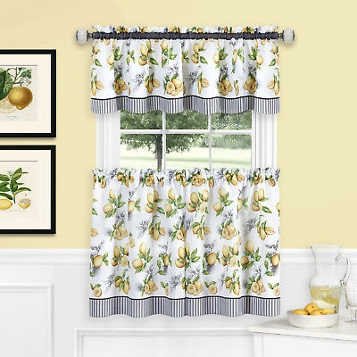 Inspiration about Lemons Complete Cafe Style Kitchen Curtain Tier & Valance Pertaining To Urban Embroidered Tier And Valance Kitchen Curtain Tier Sets (#17 of 30)