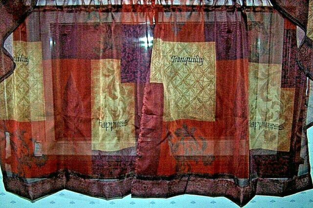 """Inspiration about Lichtenberg Eden Set Of 2 Brown Multi Tiers ~ Tranquility + Happiness ~  56X36"""" Inside Tranquility Curtain Tier Pairs (#12 of 30)"""