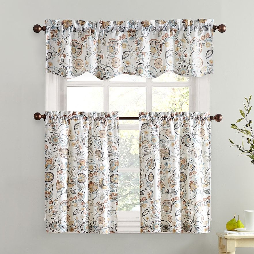 "Inspiration about Lichtenberg Forest Friends 56"" X 24"" Pair Of Tier Curtains With Regard To Hopscotch 24 Inch Tier Pairs In Neutral (#19 of 30)"