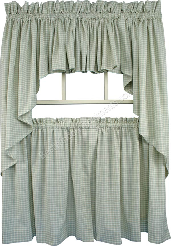 Lincol Plaid Tailored Tier Curtain Available In 3 Color Options For Tailored Valance And Tier Curtains (#22 of 50)