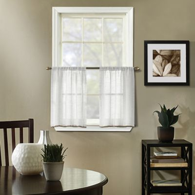 """Inspiration about Linden 24"""" Kitchen Curtain Tier Pair In White In 2019 Regarding Simple Life Flax Tier Pairs (#21 of 30)"""