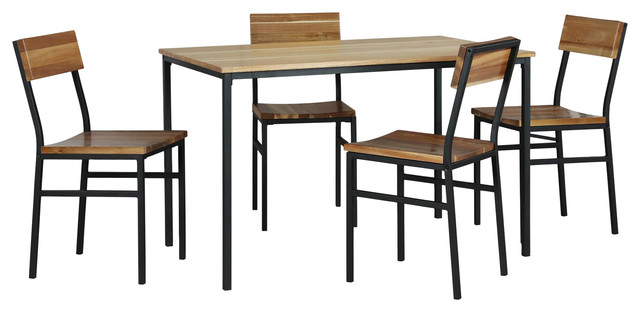 Linden 5 Piece Wood And Metal Dining Set, Natural, Gray Inside Popular Linden Round Pedestal Dining Tables (View 16 of 30)