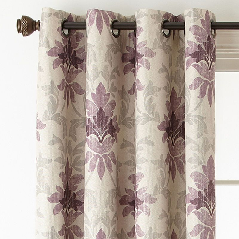 Linden Street Aurora Haven Damask Blackout Grommet Top Intended For Pastel Damask Printed Room Darkening Kitchen Tiers (#29 of 50)