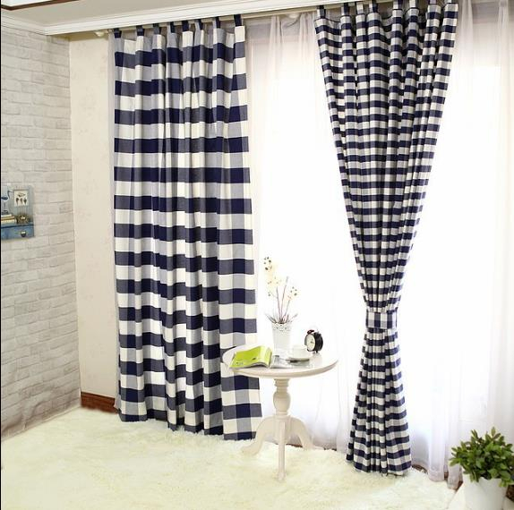 Lined Cotton Navy Black And White Buffalo Check Curtains Regarding Classic Navy Cotton Blend Buffalo Check Kitchen Curtain Sets (View 21 of 30)
