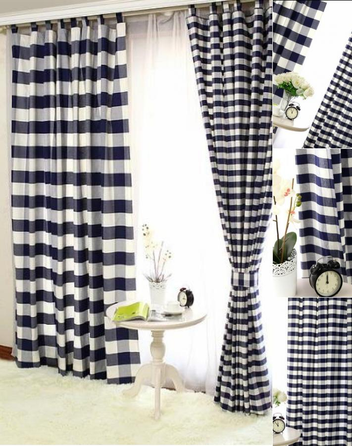 Inspiration about Lined Cotton Navy Black And White Buffalo Check Curtains Within Classic Navy Cotton Blend Buffalo Check Kitchen Curtain Sets (#20 of 30)
