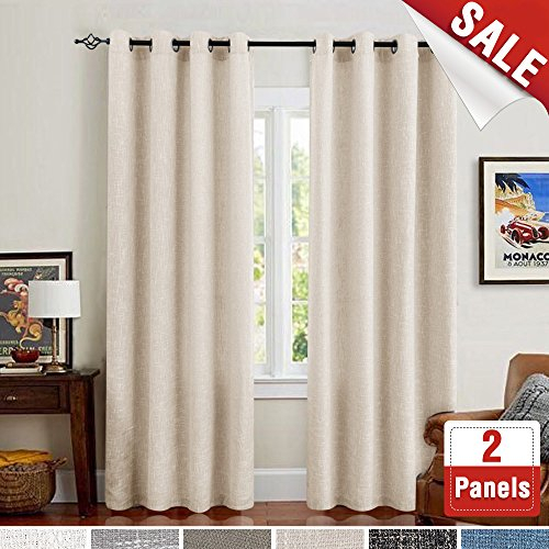 Inspiration about Linen Curtains For Bedroom Room Darkening Drapes For Living With Simple Life Flax Tier Pairs (#24 of 30)