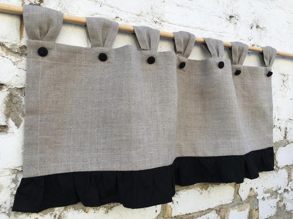 Inspiration about Linen Curtains Valances Ruffled Natural Flax Cottage Kitchen Curtain Simple  Rustic French Country Navy Curtains Ruffle Linen Farmhouse Decor Pertaining To Bermuda Ruffle Kitchen Curtain Tier Sets (#18 of 50)