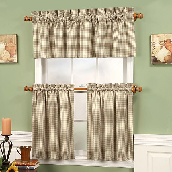 Linen Gingham Fleetwood Tier Curtains | Windowtreatments Within Oakwood Linen Style Decorative Window Curtain Tier Sets (#16 of 30)