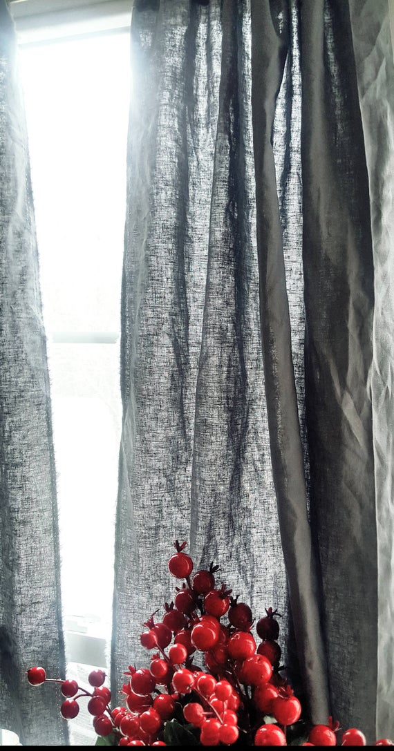 Linen Kitchen Curtains, Linen Curtains, Rustic Curtains, Bedroom Curtains,  Kitchen Curtains, Linen Gray Curtains, Two Window Panel, For Red Rustic Kitchen Curtains (#19 of 30)
