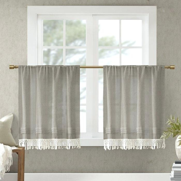 Linen Kitchen Curtains – Reginemeitan Throughout Linen Stripe Rod Pocket Sheer Kitchen Tier Sets (#26 of 46)