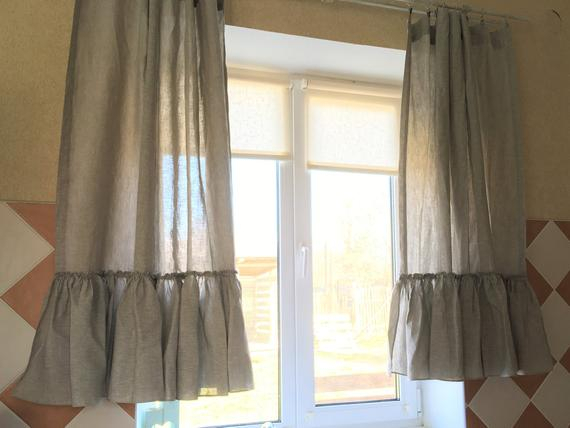 Inspiration about Linen Kitchen Curtains Set Ruffle Farmhouse Curtains Linen Cafe Curtain  Shabby Chic Curtains With Bermuda Ruffle Kitchen Curtain Tier Sets (#12 of 50)