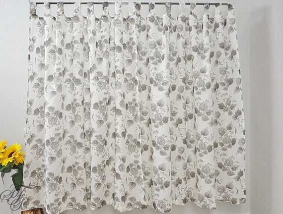 Inspiration about Linen Sheer Curtain With The Pattern 'leaves. Custom Linen Curtains. Window  Panel For Bedroom Kitchen Children's Room. Light Curtains Boho. For Traditional Tailored Window Curtains With Embroidered Yellow Sunflowers (#29 of 30)