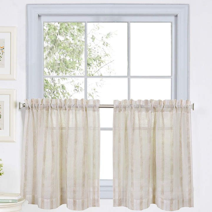 Linen Stripe 2 Pack Rod Pocket Sheer Window Tiers In 2019 Intended For Semi Sheer Rod Pocket Kitchen Curtain Valance And Tiers Sets (View 5 of 30)