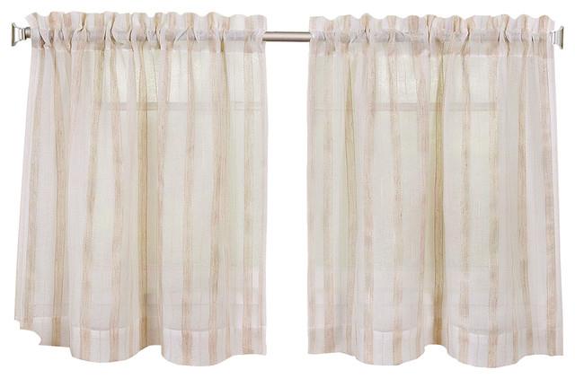 "Linen Stripe Kitchen Curtain Tier Set, 30""x24"" Pair Intended For Farmhouse Stripe Kitchen Tier Pairs (View 21 of 30)"