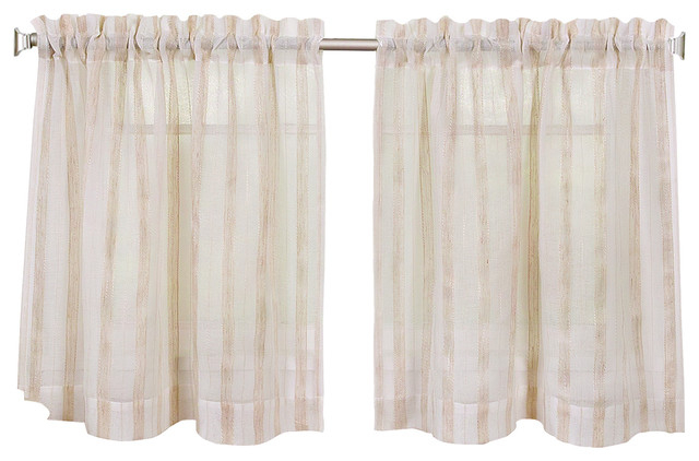 "Linen Stripe Kitchen Curtain Tier Set, 30""x24"" Pair Pertaining To Kitchen Curtain Tiers (View 8 of 50)"