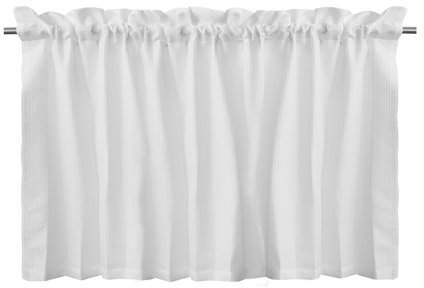 Inspiration about Lintimes Waffle Woven Textured Valance Window Kitchen Bathroom Curtain White In Wallace Window Kitchen Curtain Tiers (#18 of 29)