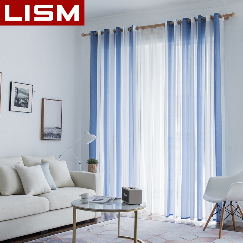 Lism Simplicity Striped Linen Tulle Curtains For Living Room Bedroom  Kitchen Modern Window Voile Sheer Window Tulle Curtains Inside Linen Stripe Rod Pocket Sheer Kitchen Tier Sets (#28 of 46)