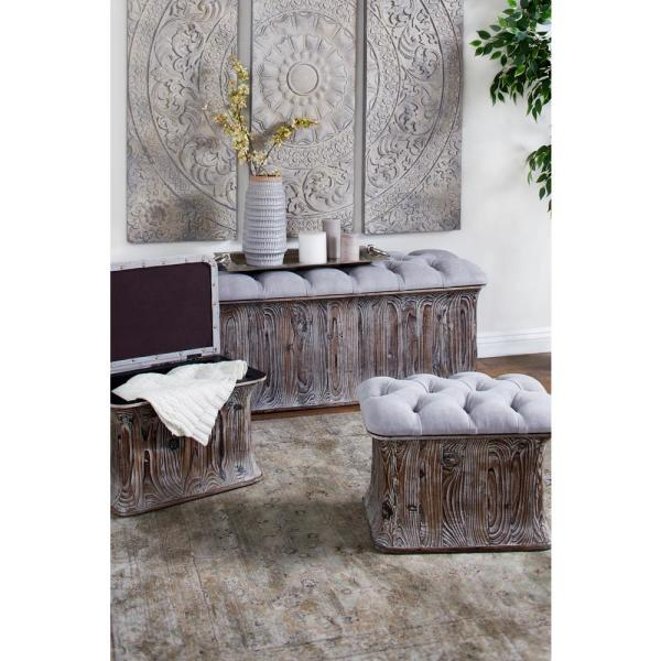 Inspiration about Litton Lane Gray Faux Leather Cushioned Storage Benches (Set Inside Cumberland Tier Pairs In Dove Gray (#17 of 30)