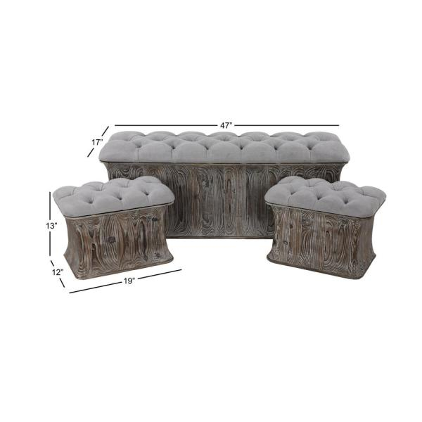 Inspiration about Litton Lane Gray Faux Leather Cushioned Storage Benches (Set Intended For Cumberland Tier Pairs In Dove Gray (#6 of 30)