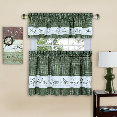 Live Laugh Love 3 Piece Kitchen Curtain Set, Green, Tiers 58X36, Swag 58X14  Inch | Ebay Throughout Solid Microfiber 3 Piece Kitchen Curtain Valance And Tiers Sets (#28 of 50)