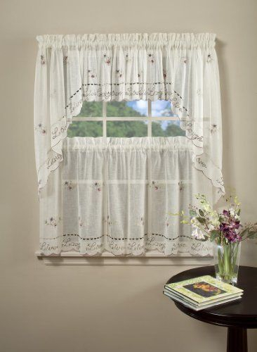 Inspiration about Live Laugh Love Embroidered Valance Kitchen Curtain Regarding Live, Love, Laugh Window Curtain Tier Pair And Valance Sets (#11 of 50)