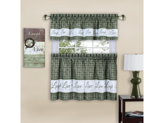 Inspiration about Live, Love, Laugh Window Curtain Tier Pair And Valance Set – 58X36 – Green  – Newegg For Window Curtain Tier And Valance Sets (#9 of 50)