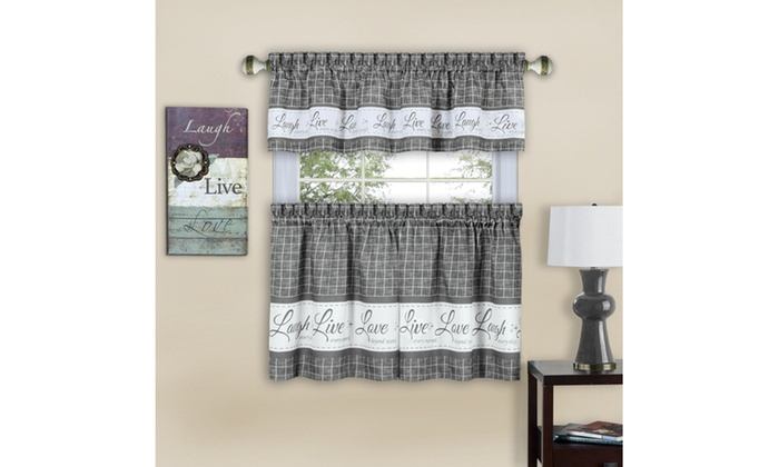 Inspiration about Live, Love, Laugh Window Curtain Tier Pair And Valance Set Pertaining To Live, Love, Laugh Window Curtain Tier Pair And Valance Sets (#10 of 50)