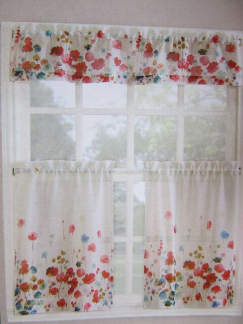 Living Colors Maggie Kitchen Tier & Valance 3 Piece Set Poppy Floral Pertaining To Microfiber 3 Piece Kitchen Curtain Valance And Tiers Sets (View 29 of 30)