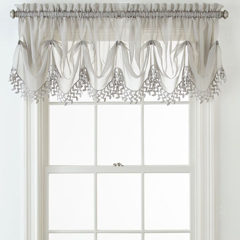 Liz Claiborne Lisette Sheer Macram Tuck Valance In 2019 With Silver Vertical Ruffled Waterfall Valance And Curtain Tiers (View 32 of 50)