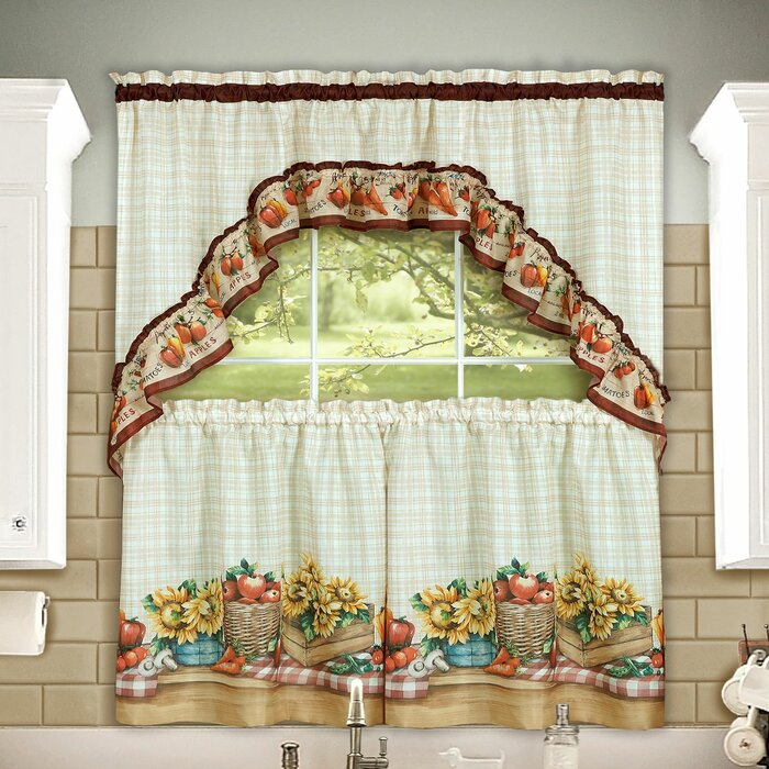 Inspiration about Lockport Farmers Market Printed Tier And Swag Set With Multicolored Printed Curtain Tier And Swag Sets (#26 of 30)