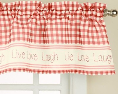 """Inspiration about Lorraine Home Fashions Gingham Stitch Window Curtain Valance, 50"""" X 12"""",  Red Price In Saudi Arabia 