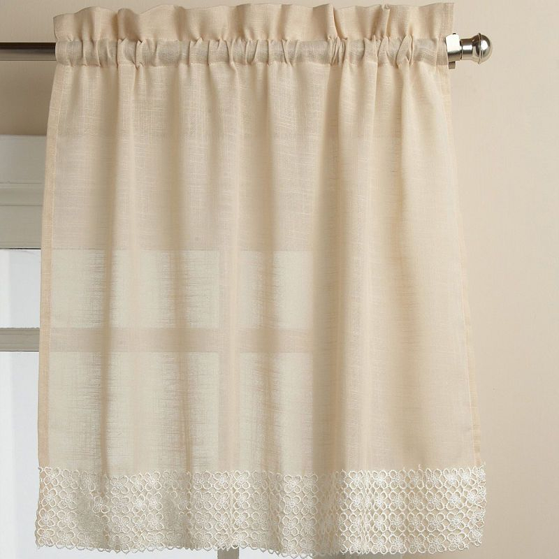 Popular Photo of French Vanilla Country Style Curtain Parts With White Daisy Lace Accent