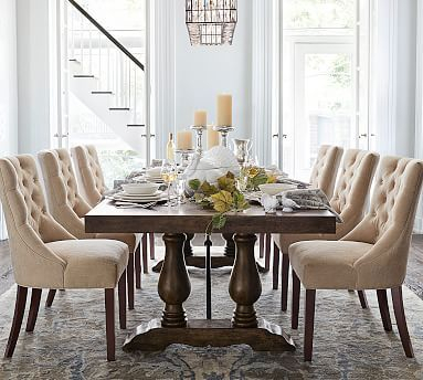 Inspiration about Lorraine Large Extending Dining Table, Hewn Oak At Pottery In Most Up To Date Rustic Brown Lorraine Extending Dining Tables (#5 of 20)