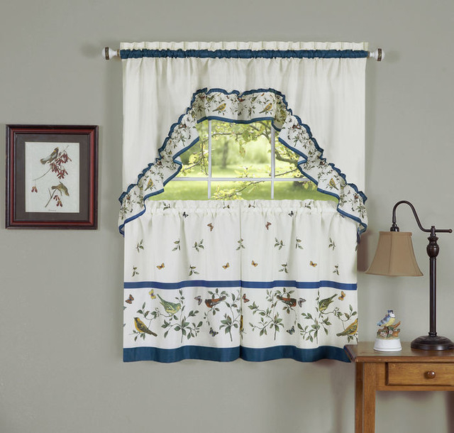 "Love Birds, Printed Tier And Swag Window Curtain Set, 57""x36"", Blue Regarding Chardonnay Tier And Swag Kitchen Curtain Sets (View 20 of 50)"