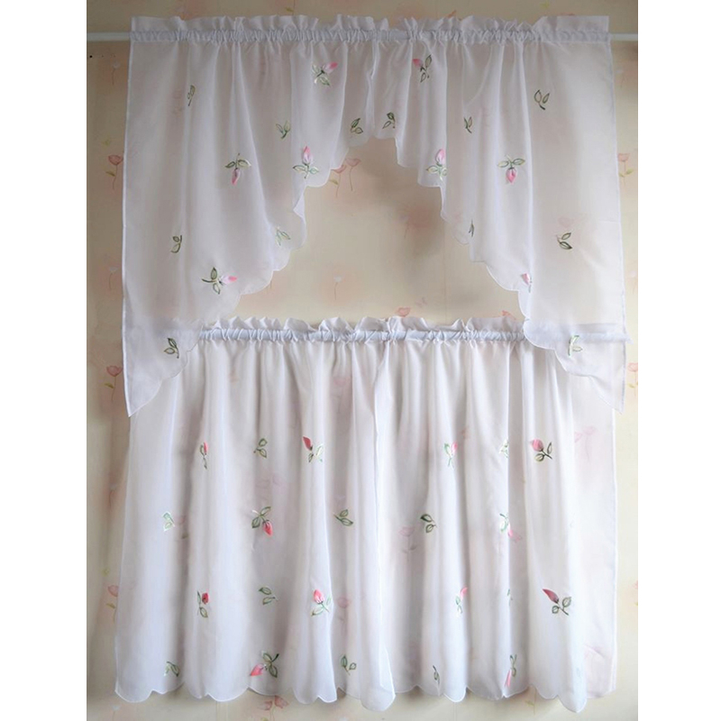 Inspiration about Lovely Design Kitchen Curtains Sheer Cafe Rural Style With Regard To Coffee Embroidered Kitchen Curtain Tier Sets (#13 of 30)