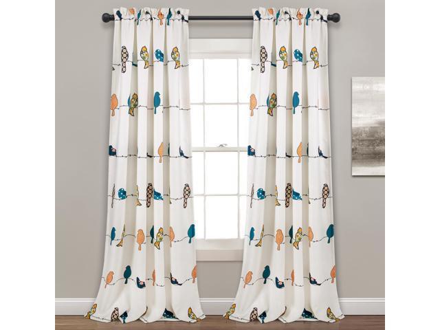 "Lush Decor Rowley Birds Room Darkening Window Curtain Panel Pair, 95"" X  52""+ 2"" Header, Multi – Newegg With Rowley Birds Valances (View 19 of 50)"