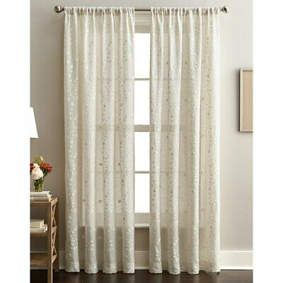 Lynette Floral Embroidered Rod Pocket Curtain Panel Linen | Ebay In Abby Embroidered 5 Piece Curtain Tier And Swag Sets (View 21 of 30)