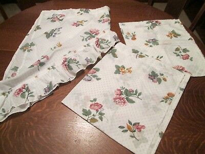 """(M) Set/3 Cotton Blend Floral Swag Tier Curtains/swag 56""""w 32""""l/tiers 28""""  W 34""""l 