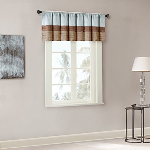 Madison Park Amherst Polyoni Pintuck Window Valance, 50X18 Regarding Pintuck Kitchen Window Tiers (#25 of 43)
