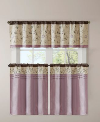 """Madison Park Serene 30"""" X 36"""" Embroidered Rod Pocket Set Of With Regard To Embroidered Rod Pocket Kitchen Tiers (View 26 of 49)"""