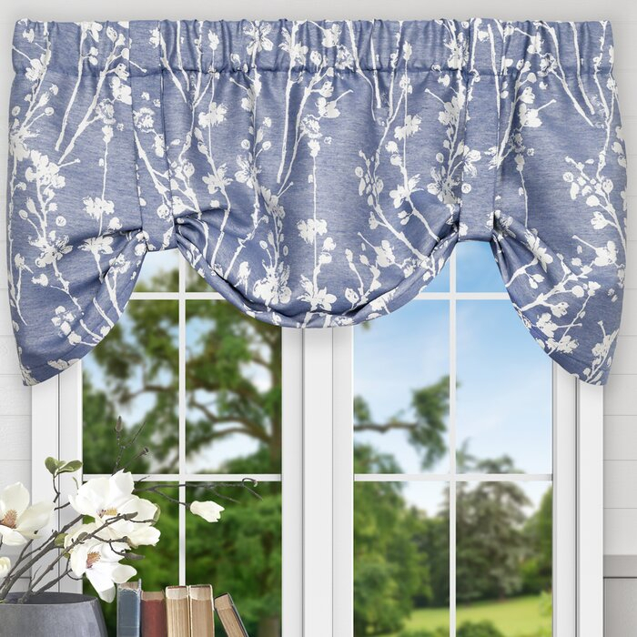 """Mahtomedi Floral 50"""" Curtain Valance Regarding White Tone On Tone Raised Microcheck Semisheer Window Curtain Pieces (View 20 of 46)"""