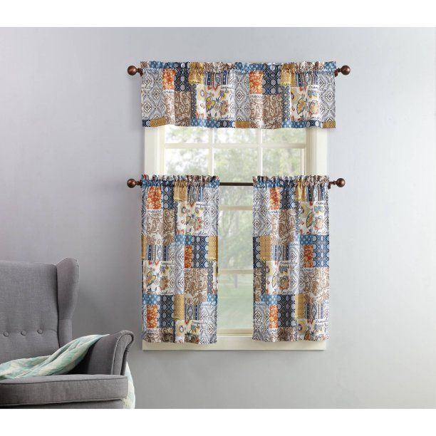 Mainstays Amelia 3 Piece Kitchen Curtain And Valance Set Inside Geometric Print Microfiber 3 Piece Kitchen Curtain Valance And Tiers Sets (View 13 of 30)