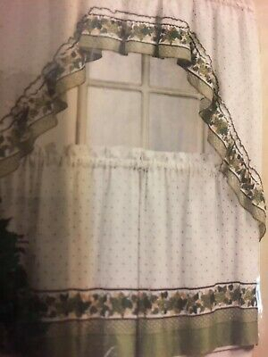 Mainstays Home Cottage Ivy Green Tier & Swag Set Kitchen With Regard To Cottage Ivy Curtain Tiers (View 5 of 49)