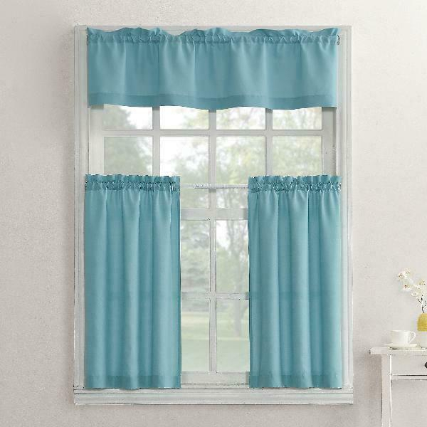 Popular Photo of Solid Microfiber 3 Piece Kitchen Curtain Valance And Tiers Sets