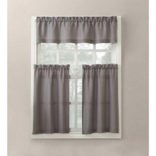 Mainstays Solid 3 Piece Tier And Valance Kitchen Curta Pertaining To Waverly Felicite Curtain Tiers (#11 of 45)