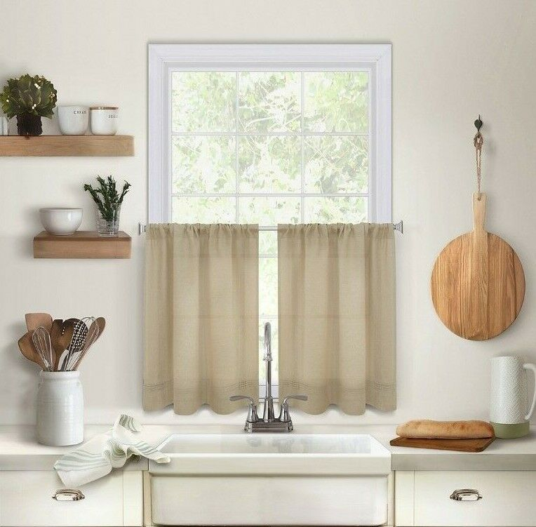 Maison 24 Inch Kitchen Window Curtain Tiers In Linen | Ebay Regarding Hopscotch 24 Inch Tier Pairs In Neutral (View 14 of 30)