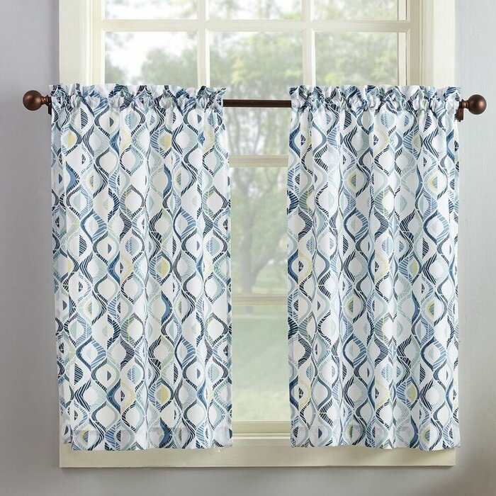 Maree Kitchen Curtain Within Geometric Print Microfiber 3 Piece Kitchen Curtain Valance And Tiers Sets (View 14 of 30)