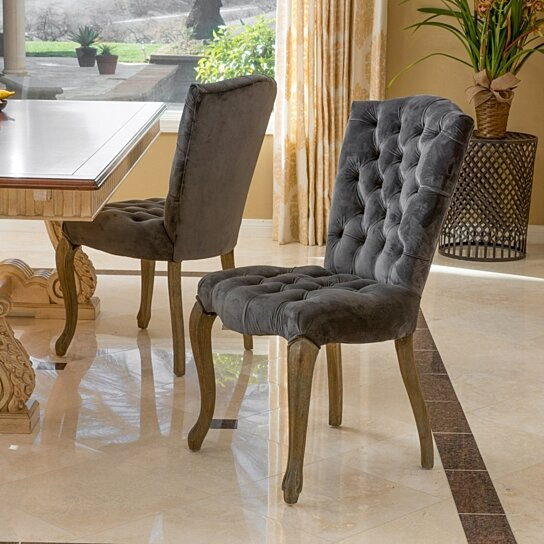 Martino Dining Tables In Trendy Martino Charcoal Velvet Dining Chair (Set Of 2) (#7 of 30)