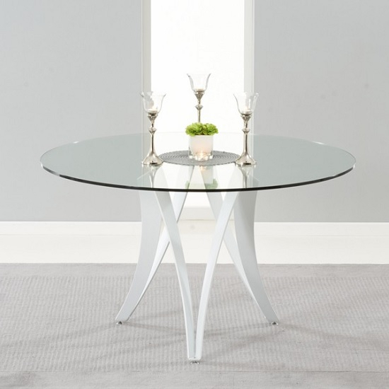 Martino Glass Dining Table And Metal Legs In White High Gloss Inside Recent Martino Dining Tables (#15 of 30)